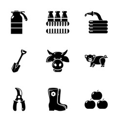 Farming icons set simple style vector