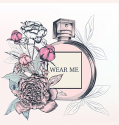Fashion with perfume bottle and rose flowers vector