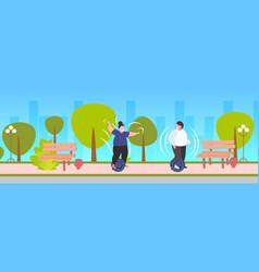 fat obese man woman riding self balancing scooter vector image