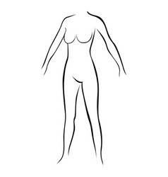 Female stylized body contour without extremities vector