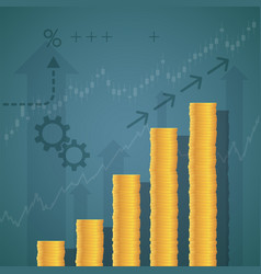 Financial graph of stacks of gold coins vector