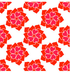 Flower from red heart seamless pattern vector