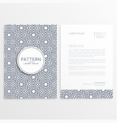 front and back letterhead design with pattern vector image