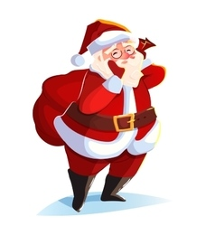 Funny santa Christmas greeting card vector image