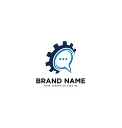 Gear logo and chat icon vector