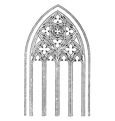 gothic tracery vaulted roofs vintage engraving vector image