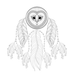 Hand drawn entangle dreamcatcher with tribal owl vector