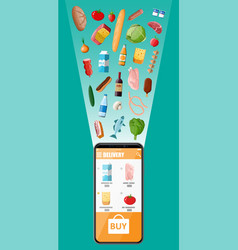 Hand holding smartphone with food shopping app vector