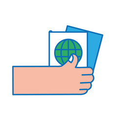 Hand with passport to travel document id vector