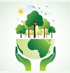 hands earth vector image