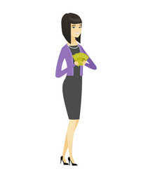 happy asian business woman holding money vector image