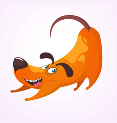 Happy cartoon dog having fun and doing yoga vector