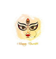 happy navratri goddess durga puja face logo icon vector image