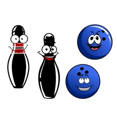 Happy smiling cartoon bowling pins and balls vector image