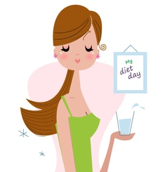 Healthy woman holding drink of water vector image