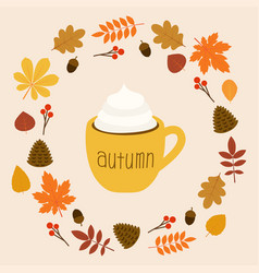 hello autumn cup coffee leaves on flat vector image