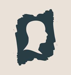 human avatar silhouette on grunge brush stroke vector image