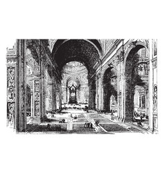 interior of st peters basilica vintage vector image