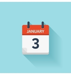January 3 flat daily calendar icon Date vector image