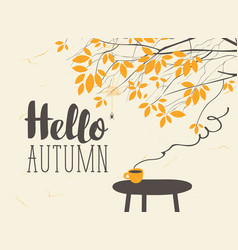 Landscape on autumn theme with cup on table vector