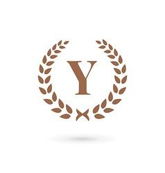 Letter y laurel wreath logo icon design template vector