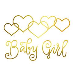 lettering of baby girl in golden on white vector image