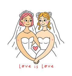 Lgbt lesbian family concept wedding card vector
