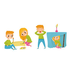 Little boy and girl painting and playing hide-and vector