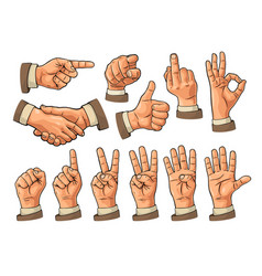 Male and female hand sign fist like pointing vector