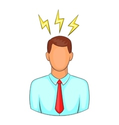 Man and lightnings near head icon cartoon style vector