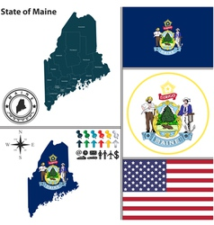Map of Maine with seal vector image