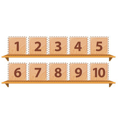 Math number on wooden template vector