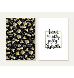Merry christmas card set retro gold 80s pattern vector image