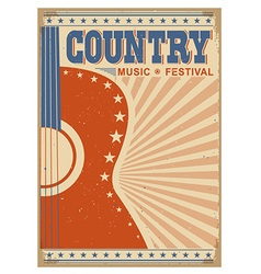 Music festival background with guitar poster vector