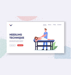 Needling technique landing page template female vector