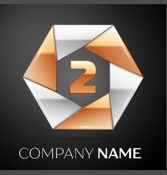 Number two logo symbol in the colorful hexagon on vector