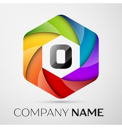 O Letter colorful logo in the hexagonal on grey vector image