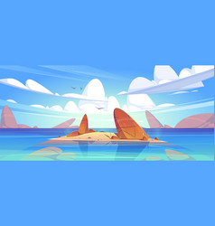 ocean or sea nature landscape with shallow or land vector image