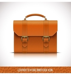 Orange color leather briefcase icon vector