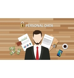 Personal data lock secure with paper document vector