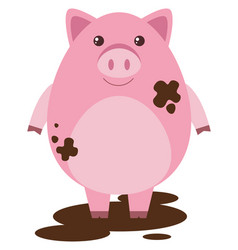 Pink pig in muddy puddle vector