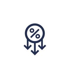 Profit decrease percent down icon vector