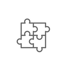 Puzzle strategy outline icon elements of vector