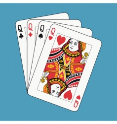 Queens poker vector