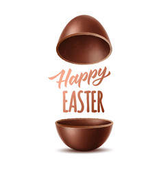 realistic chocolate egg 3d easter symbol vector image