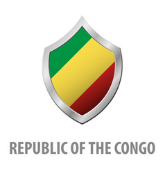 republic of the congo flag on metal shiny shield vector image