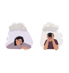 Sad man and woman under rain vector
