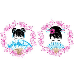 Sakura wreath with a portrait of Asian girl vector image