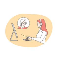 Service call center customer support concept vector