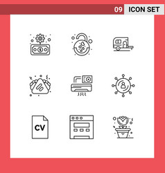 Set 9 outlines on grid for aircondition vector